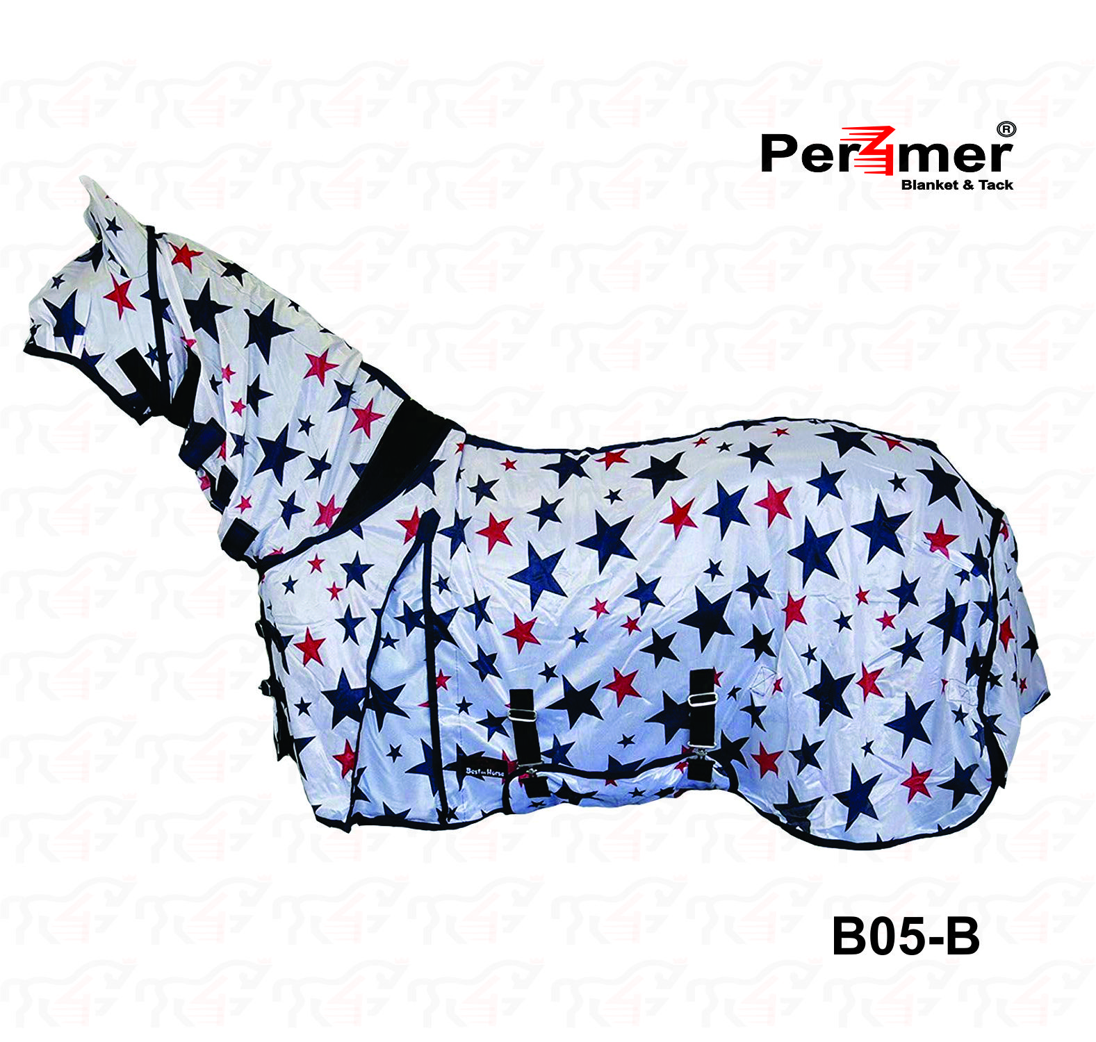 Best On Horse Star Print Combo Fly Rug Full Neck Face Ears Bug Protection Sheet